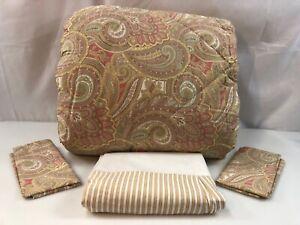 Ralph Lauren Fabric William Paisley Queen Comforter Set Tan Coral Stripe NEW 4Pc