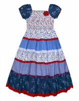 Girls Floral Dress 100% Cotton Lace Trim Gypsy Summer Dresses Age 3 - 11 Years