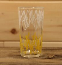 """Vintage Multi Colour Abstract Retro Pattern Bar Drinking Glass Tumbler 5"""" Tall"""