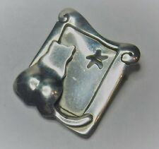 """Whimsical 1 1/4"""" Sterling Silver Kitty Cat and a Starry Window Brooch Pin"""