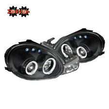 For 00-02 Dodge Neon Dual Halo Projector Headlights LED Black Housing Clear Lens