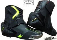 REAL LEATHER HiViz BLK MENS MOTORBIKE MOTORCYCLE RACING SHORT SPORTS SHOES BOOTS