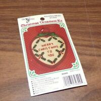 Vtg The New Berlin Co Counted Cross Stitch Merry Christmas Heart Ornament Kit