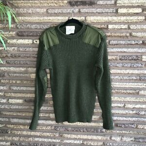Vtg British Commando Wooly Pully Crewneck Green Military Army Sweater
