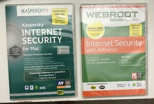 Kaspersky and WEBROOT Internet Security 2 CDs Brand New and sealed