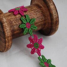Guipure Lace Trim - Daisy Flower - Azalea Pink Bud Green - 2.4cm Wide - GLR15
