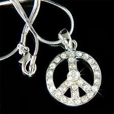 w Swarovski Crystal ~PEACE sign Symbol Hippie No War Charm Necklace BOHO Jewelry