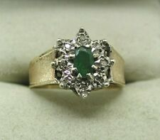 1970's Vintage 9ct Gold Emerald And Diamond Cluster Ring
