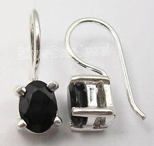 .925 Sterling Silver CUT BLACK ONYX LITTLE Dangle Earrings 1.7 CM BIRTHDAY GIFT
