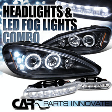 99-05 Pontiac Grand Am Black Halo Projector Headlights+6-LED Fog Lamps