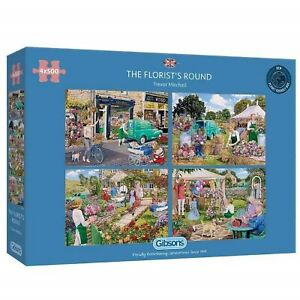 Gibsons - 4 X 500 PIECE JIGSAW PUZZLES - The Florist's Round