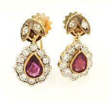 Vintage 9Carat Yellow Gold Pear Ruby & Diamond Halo Drop Studs (8x10mm)