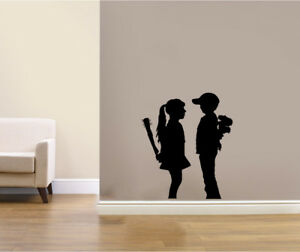 Banksy Girl and Boy Wall Art Decals Stickers Bedroom decoration Home Improvement