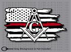 Thin Red Line Firefighter Mason Masonic  American flag sticker Decal