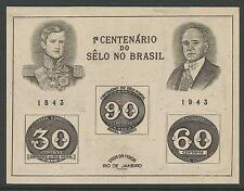 BRAZIL. 1943. Stamp Centenary Miniature Sheet. SG: MS682a. Unused
