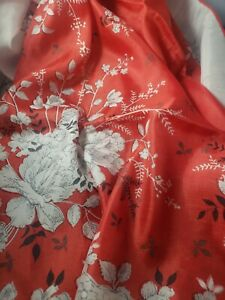 "Vintage SILK/Rayon Blend 30"" square Scarf Red with White Flowers"