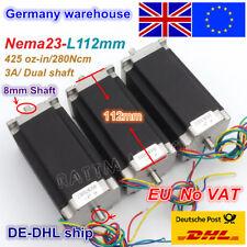 【EU Stock】3PCS Nema23 Stepper Motor 425oz.in 2.8Nm 112mm 3A Dual Shaft For CNC