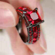 Red Ruby Garnet Band Wedding Ring 18KT Black Gold Filled Womens Jewelry Size 7