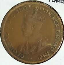 1924 Australia One Penny One Cent Large Penny Coin King George V Commonwealth