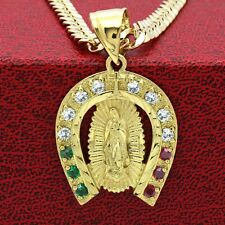 Mens 18k Gold Plated  Mexican Color  Guadalupe Pendant 6mm 24