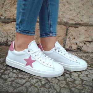 Scarpe sneakers basse da donna in pelle bianche stella rosa sportive ginnastica