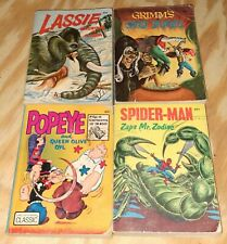 "Vintage lot of (4) ""Big Little Books"" Spiderman, Lassie, Popeye, & Grimm's Ghost"