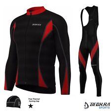 Mens Cycling Bib Tights+Jersey Long Sleeves Thermal Winter Bicycle Shirt Tights
