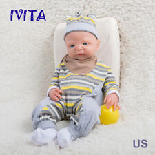 IVITA 21'' Full Body Silicone Reborn Baby Girl Big Blue Eyes Newborn Doll