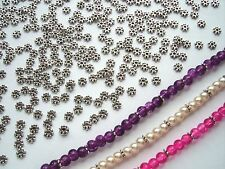 200 x TINY TIBETAN SPACER BEADS / Antique Silver Daisy / NICKEL FREE 4x1mm