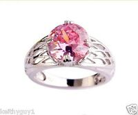Ladies womens silver 925 pink sapphire ring fashion jewelry ring in 3 sizes, New