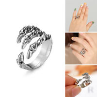 Retro Men's Claw Dragon Claw Eagle Claw Stainless Steel Ring Adjustable -