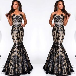 STRAPLESS FITTED FISHTAIL GOWN BLACK/NUDE BNWT