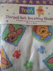 NEW Vintage Disney Winnie The Pooh Piglet Baby Receiving Blanket waffle thermal