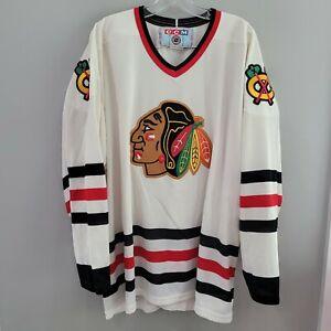Vintage 90s CCM NHL Chicago Blackhawks White Hockey Jersey Mens 2XL Sewn