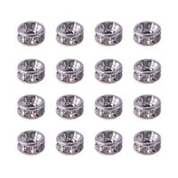 20pcs 316 Stainless Steel Pave Rhinestone Metal Beads Disc Loose Spacers 6-10mm