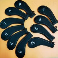 10Pcs/set Black Zipper Golf Iron Headcovers Covers for Ping Taylormade Cleveland
