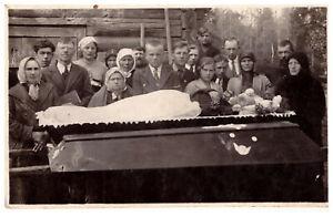 Antique post mortem man in casket Vintage funeral Real Photo 1920s