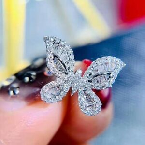 Elegant Micro-inlaid Crystal Butterfly Diamante Silver Women's Ring Wedding Ring
