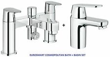 GROHE Eurosmart Cosmo Bath Shower Mixer Smooth Basin Mixer Tap 25129 + 3282400L