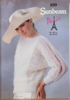 "Sunbeam Knitting Pattern Sweater Lacy Dolman Slit Sleeves 32-38"" Mohair 920"