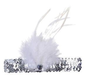silberner Charleston Kopfschmuck mit Federn + Pailletten 20er Jahre