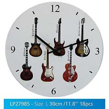 White Musical Guitars Round Wall Clock - 12 Hour Display