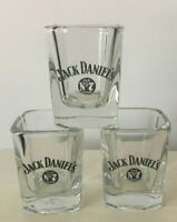 Jack Daniels Old No 7 Square Shot Clear Drinking Glasses Set of 3