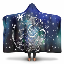 Personalized Pisces Horoscope Zodiac Star Sign Hooded Blanket