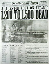 Best 1912 display newspaper TITANIC DISASTER -HITS ICEBERG & SINKS on 1st voyage