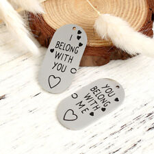 2Pcs Couples Oval Pendants Stainless Steel Charms for Necklace Jewelry Bracelet