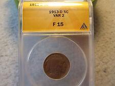 1913-D Type 2 Buffalo Nickel ANACS graded F15 (1913 D 5C Fine Key Date Rare)