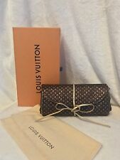 Rare Louis Vuitton Brown Gold Silk Monogram Trousse Bijoux Folding Jewelry Roll