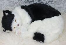 "Realistic Sleeping Cat 9451Life Size Plush Fake Fur Black & White Lifelike 12"""