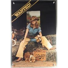 "Vintage Schlitz Beer Wanted Poster Cowgirl Dog 1980 30"" x 20"""